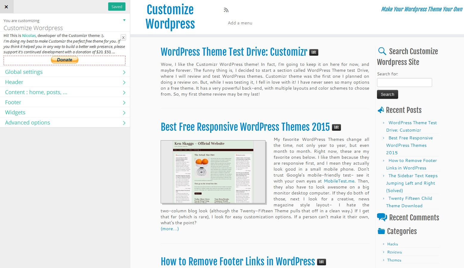 Wordpress Theme Test Drive: Customizr - Customize Wordpress